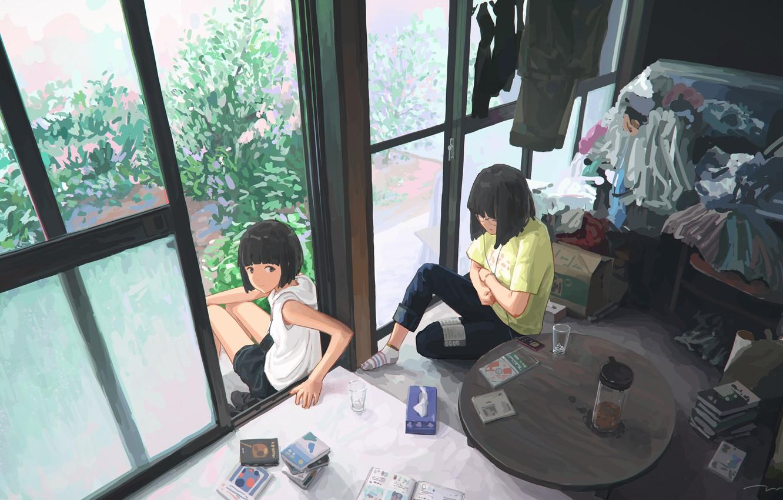 Photo wallpaper room, girls, art