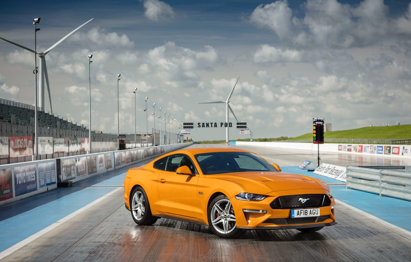 Photo wallpaper orange, Ford, front view, Fastback, 2018, Mustang GT