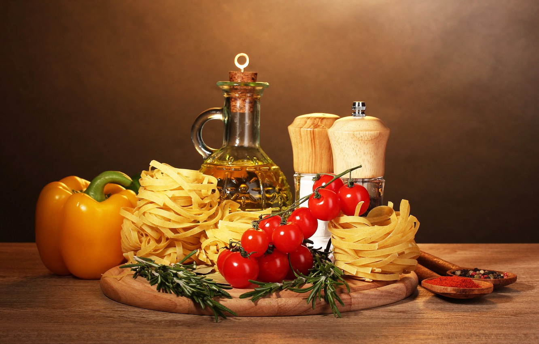 Photo wallpaper oil, pepper, tomatoes, pasta