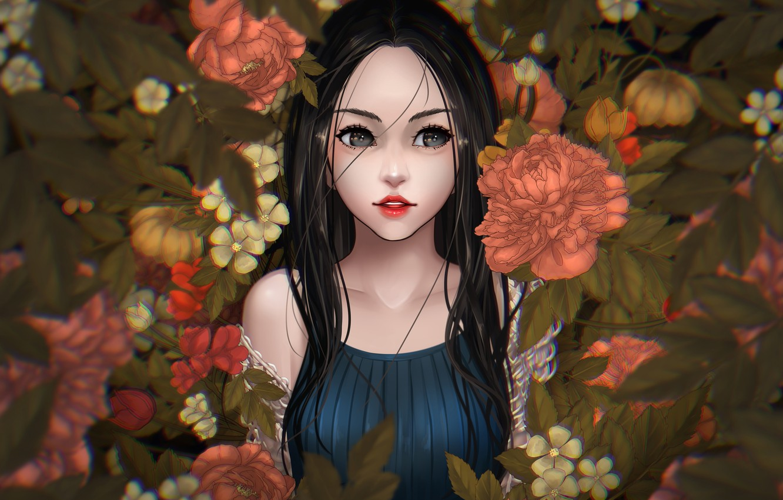 Photo wallpaper girl, flowers, makeup