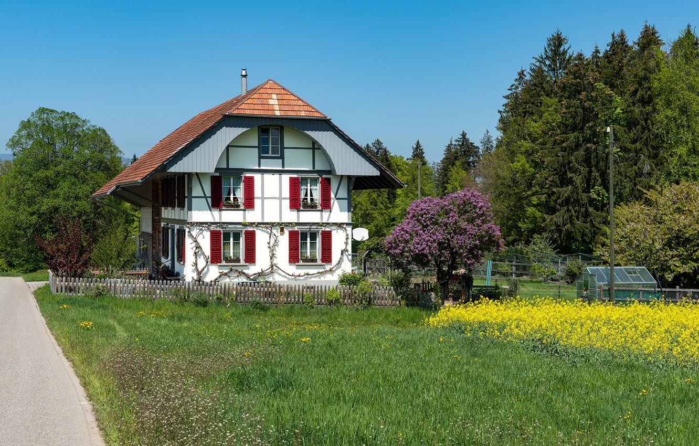 Photo wallpaper photo, Design, Grass, The fence, Switzerland, House, Mansion, Steinhof
