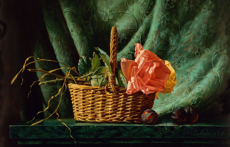 Photo wallpaper rose, picture, still life, painting, basket, Alexei Antonov, plum