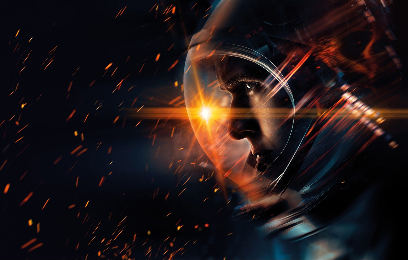 Photo wallpaper the suit, sparks, black background, poster, astronaut, Neil Armstrong, Ryan Gosling, Ryan Gosling, biography, First …