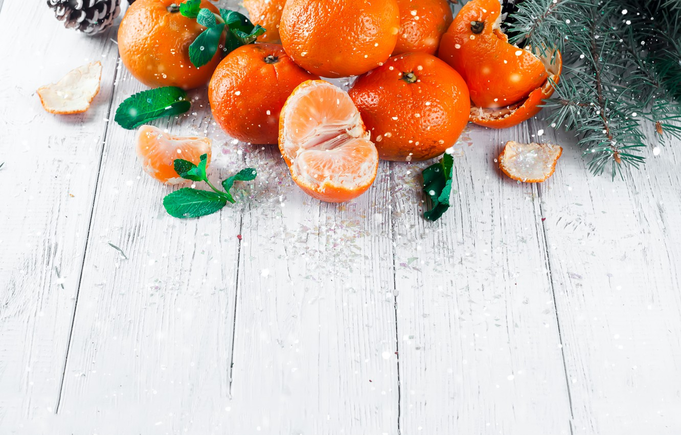 Photo wallpaper decoration, New Year, Christmas, Christmas, wood, winter, snow, fruit, New Year, tangerines, decoration, tangerine, Merry, …