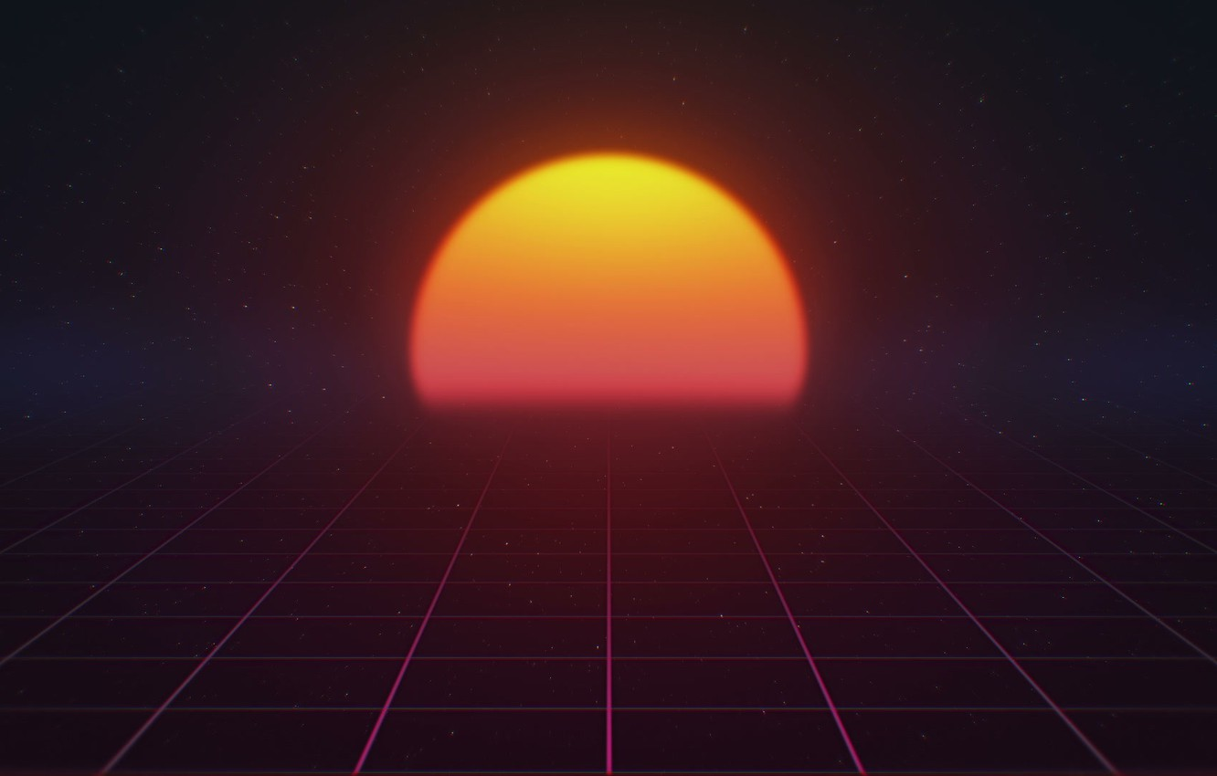 Wallpaper The sun, Music, Star, Background, 80s, Neon, 80's, Synth