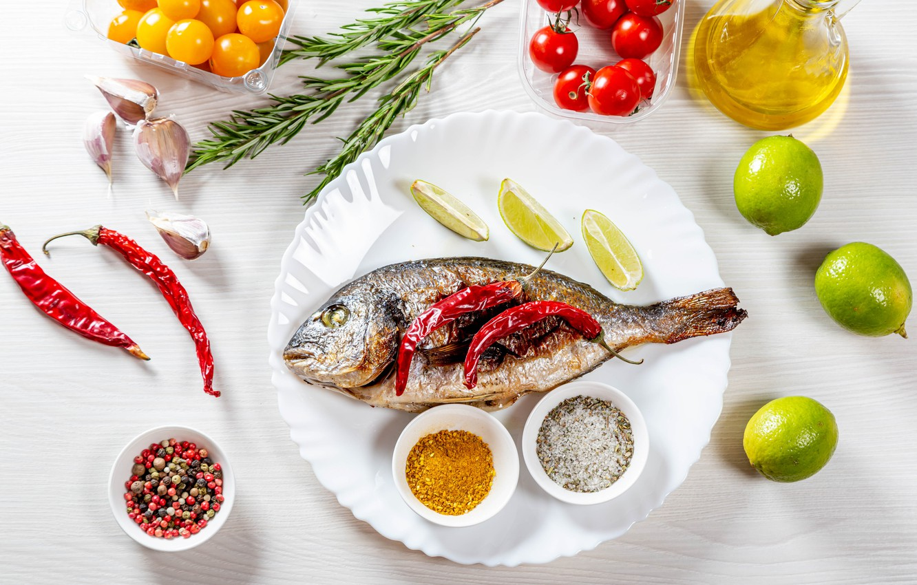 Photo wallpaper fish, lime, pepper, spices, garlic, tomatoes