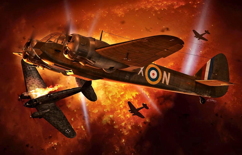 Photo wallpaper Night, Fire, bomber, He 111, Night fighter, Bristol, The spotlight, Blenheim Mk.IF