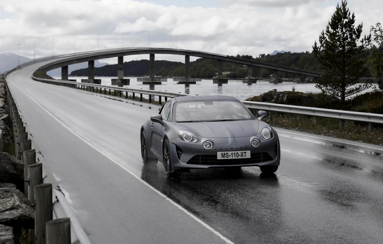 Photo wallpaper road, coupe, Alpine, 2019, A110S