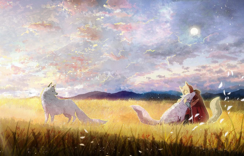 Photo wallpaper field, girl, wolves, painting, ao (aohari)