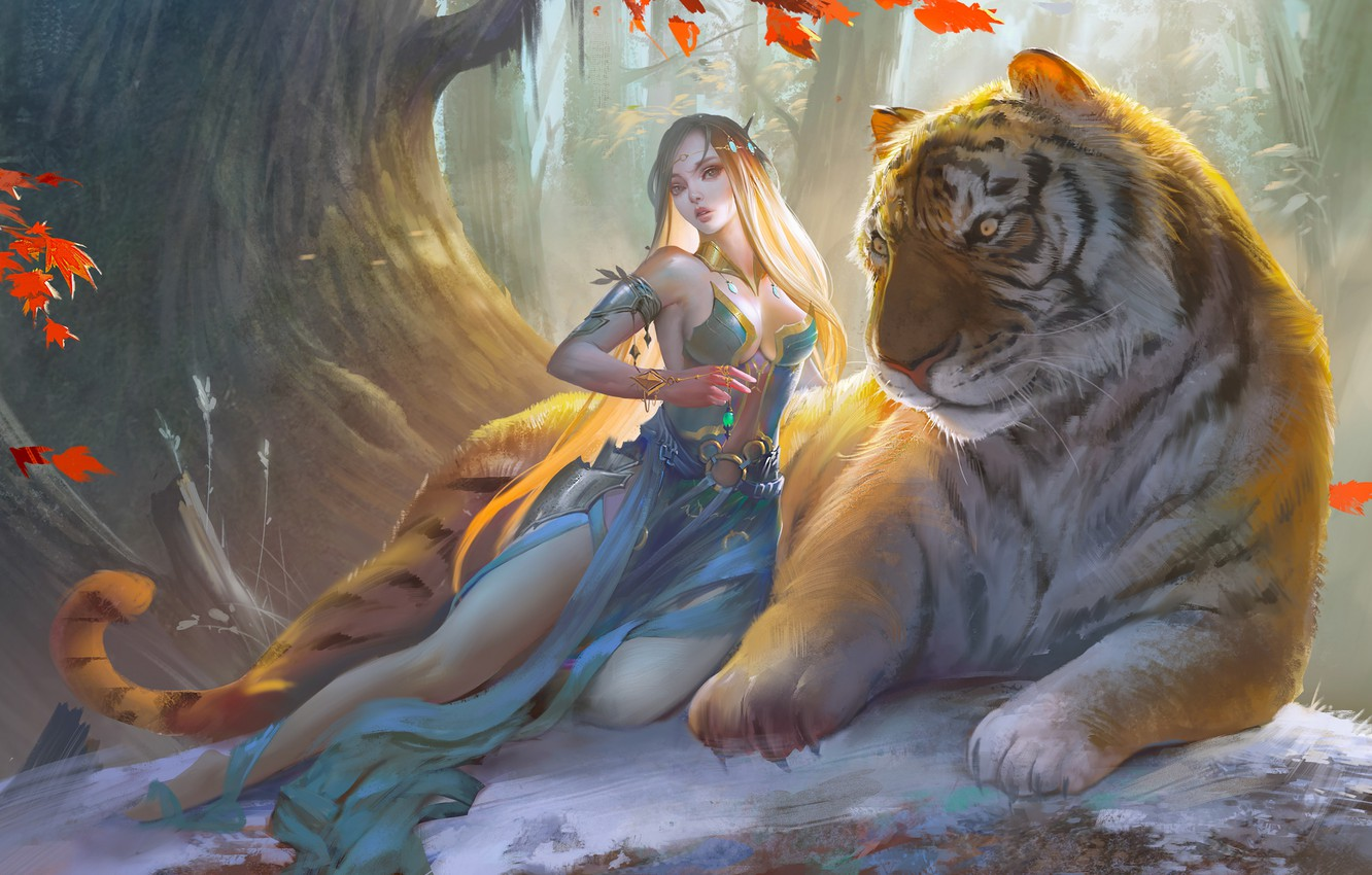 Photo wallpaper girl, fantasy, forest, cleavage, dress, trees, breast, tiger, animal, blonde, artwork, fantasy art, Elf, chest, …