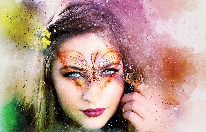 Photo wallpaper background, butterfly, tattoo, girl art