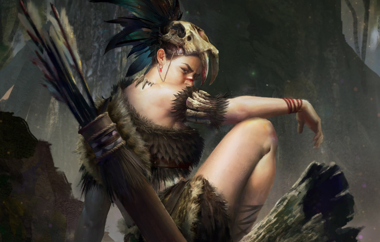 Photo wallpaper look, girl, weapons, skull, Forest, hunter
