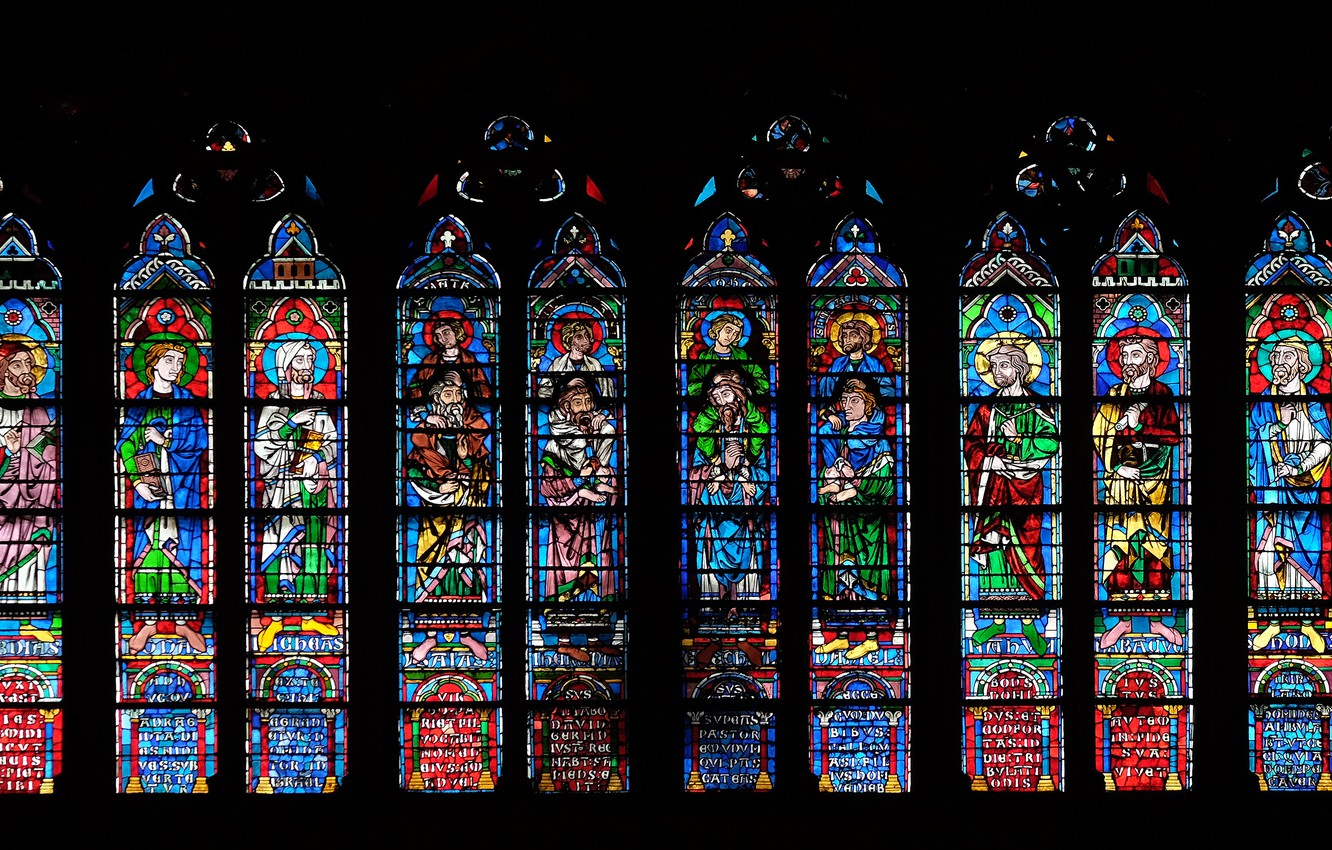 Photo wallpaper colors, saints, decoration, church, forms, stained glass
