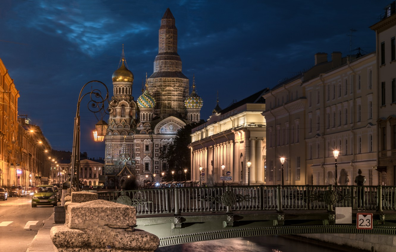 Photo wallpaper night, the city, river, building, home, Peter, lighting, lights, Sink, Saint Petersburg, temple, the bridge, …