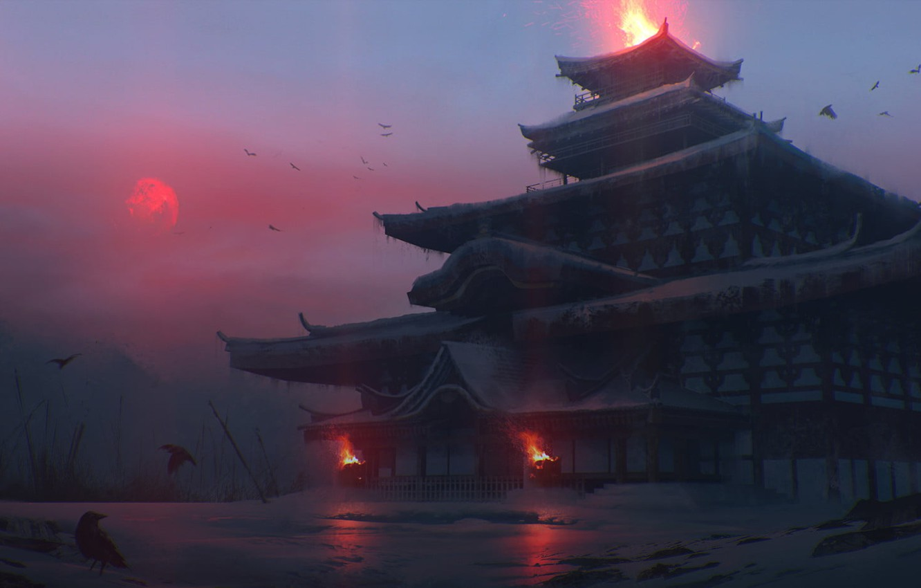Photo wallpaper cold, winter, fire, Japan, temple, twilight, red moon, crow, gloomy atmosphere, by Quentin Bouilloud