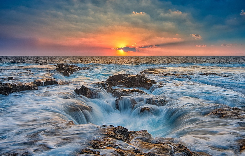 Photo wallpaper sea, the sky, sunset