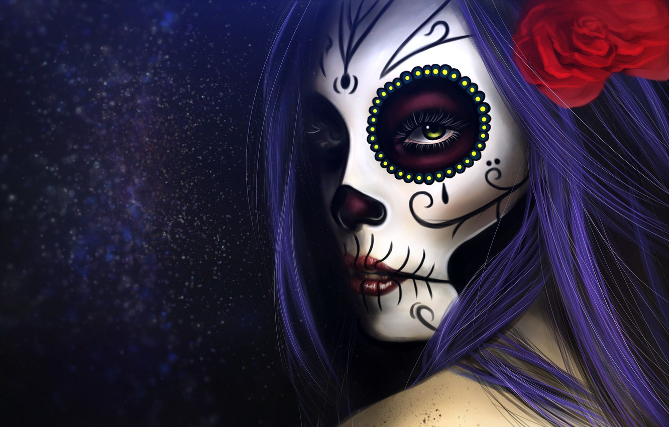 Wallpaper Girl Figure Style Eyes Background Calavera Digital