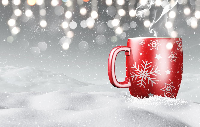 Photo wallpaper winter, snow, snowflakes, mug, winter, snow, cup, coffee, snowflakes