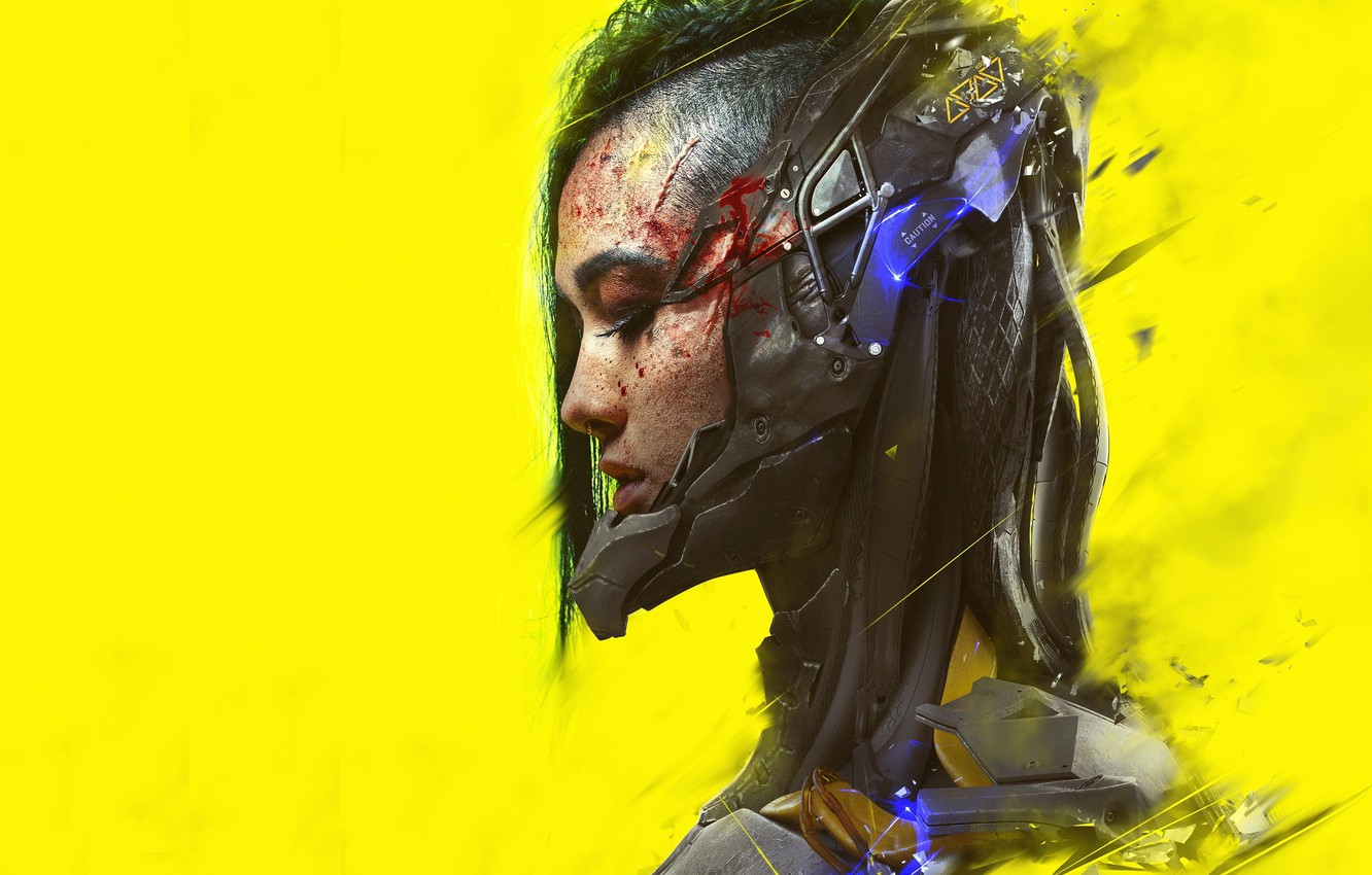 Photo wallpaper girl, art, profile, cyberpunk, yellow background, cyberpunk