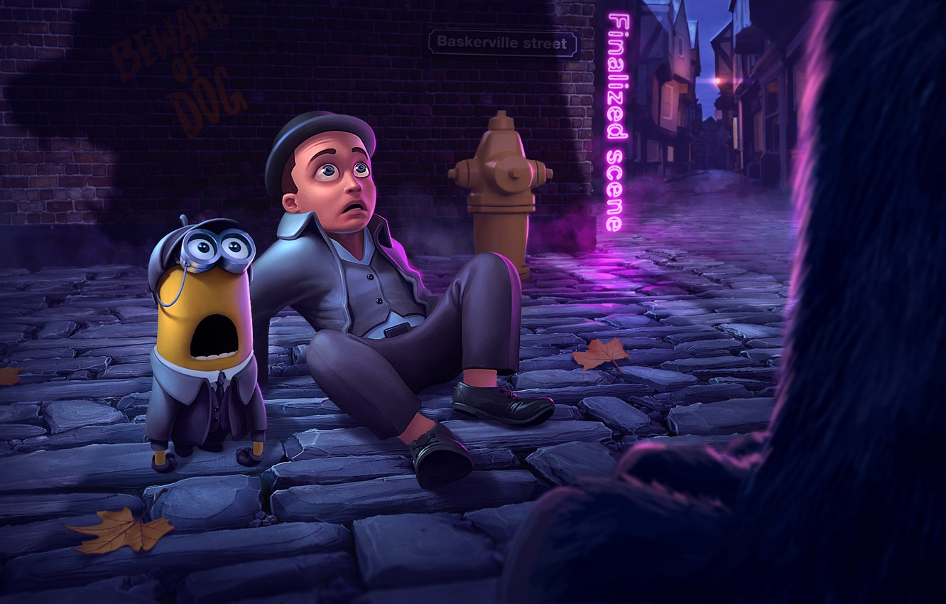 Photo wallpaper night, street, meeting, the situation, art, Sherlock, minion, Puppy, Mario Mario
