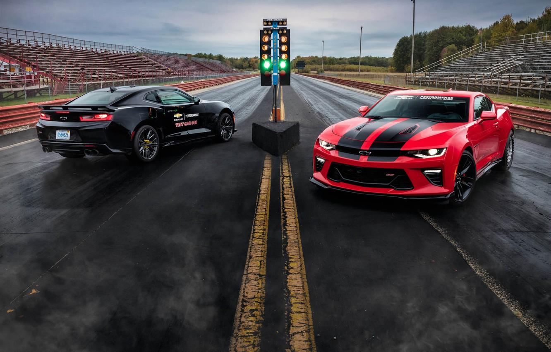 Photo wallpaper Red, Black, Chevrolet, Machine, Camaro, Drives, ZL1, Drag Racing