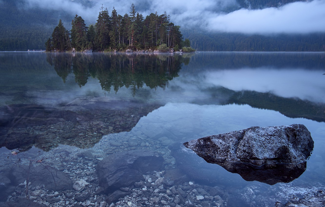 Photo wallpaper forest, trees, mountains, fog, lake, stones, Germany, Eibsee