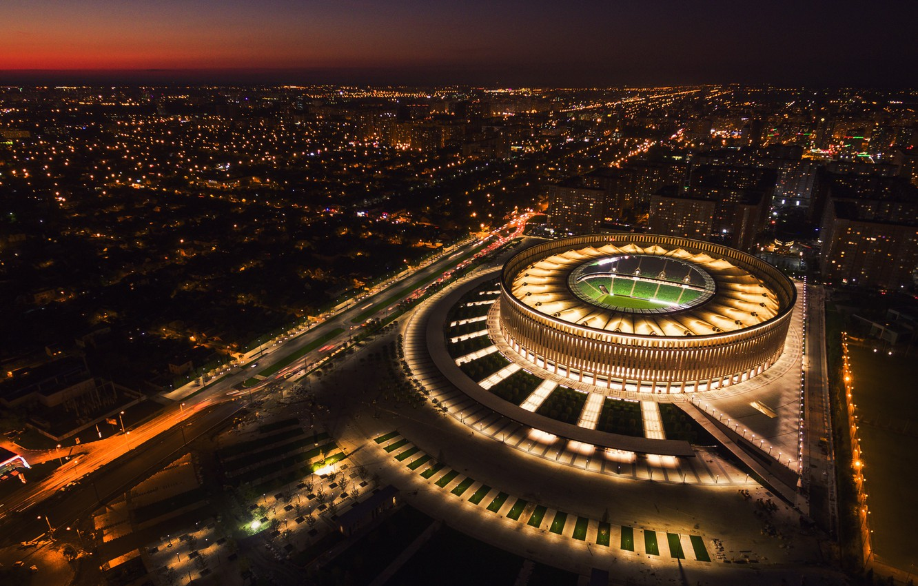 Photo wallpaper Sunset, Night, The city, Russia, The view from the top, Stadium, Football club, Bulls, Krasnodar, ...