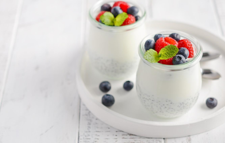 Photo wallpaper berries, raspberry, blueberries, jars, pudding, Chia