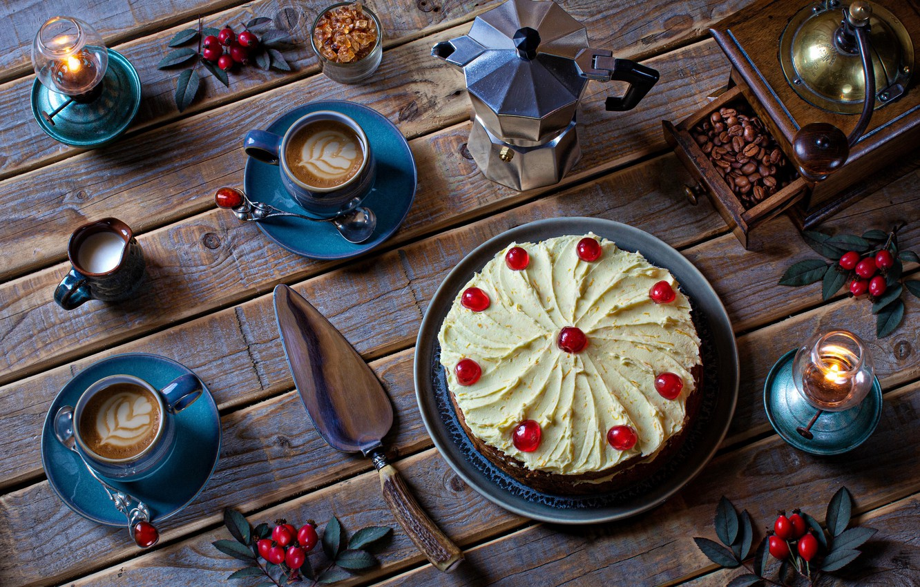 Photo wallpaper style, berries, coffee, candles, cake, still life, coffee beans, coffee grinder, coffee pot