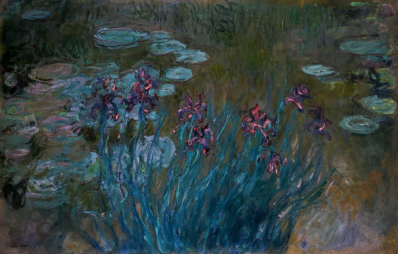 Photo wallpaper flowers, swamp, Claude Monet, Irises and Water-Lilies