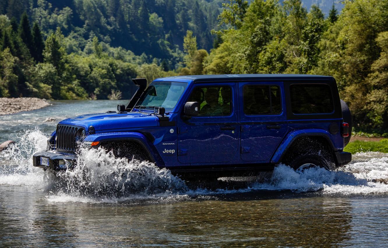 Photo wallpaper blue, river, SUV, 4x4, Jeep, 2019, Wrangler Unlimited 1941 Sahara