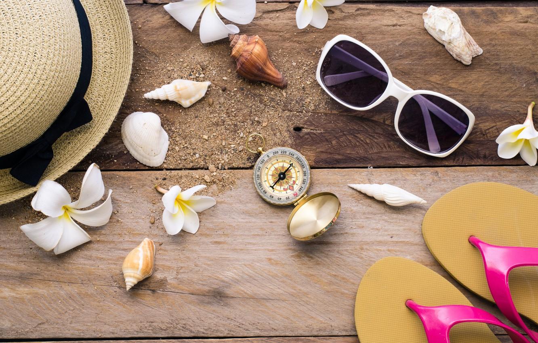 Photo wallpaper beach, background, Board, hat, glasses, shell, summer, beach, wood, flowers, marine, plumeria, plumeria, seashells