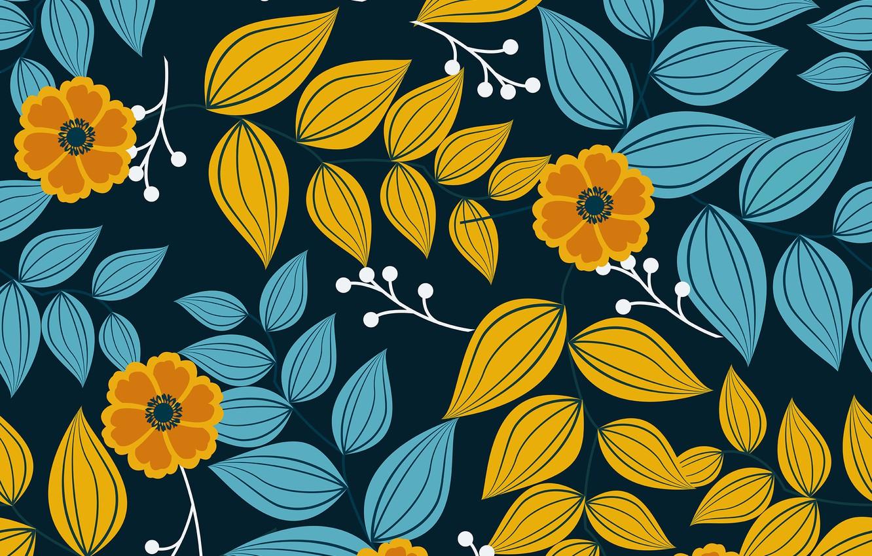 Photo wallpaper leaves, flowers, blue, background, pattern