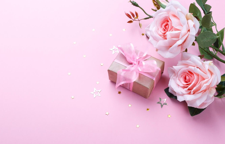Photo wallpaper holiday, gift, roses, tape, stars