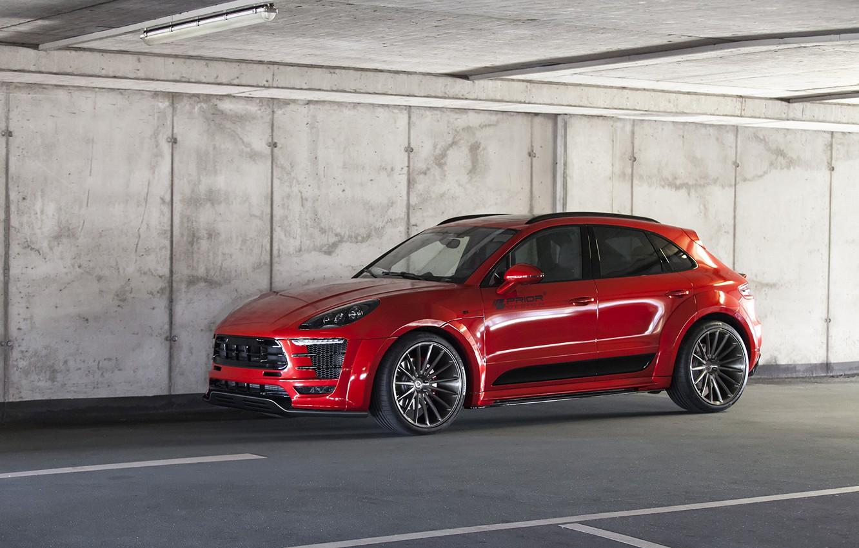 Photo wallpaper car, machine, asphalt, wall, tuning, Porsche, the ceiling, red, car, drives, side, auto, red car, …