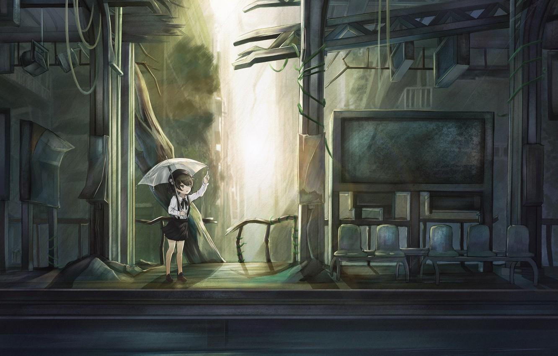 Photo wallpaper umbrella, art, girl, Virtual Youtuber