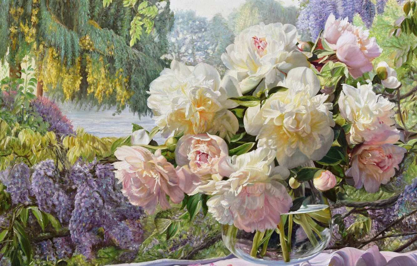 Photo wallpaper bouquet, garden, vase, peonies, Zbigniew Kopania