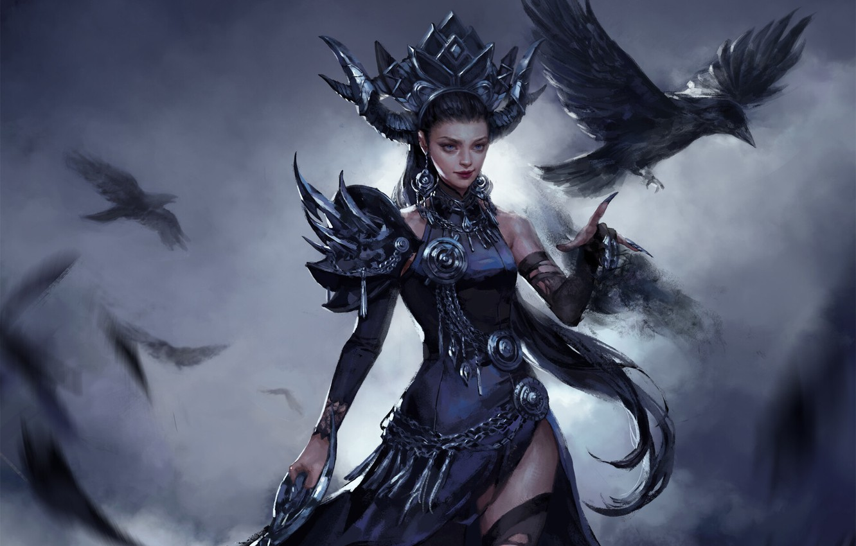 Photo wallpaper look, fantasy, art, witch, Raven