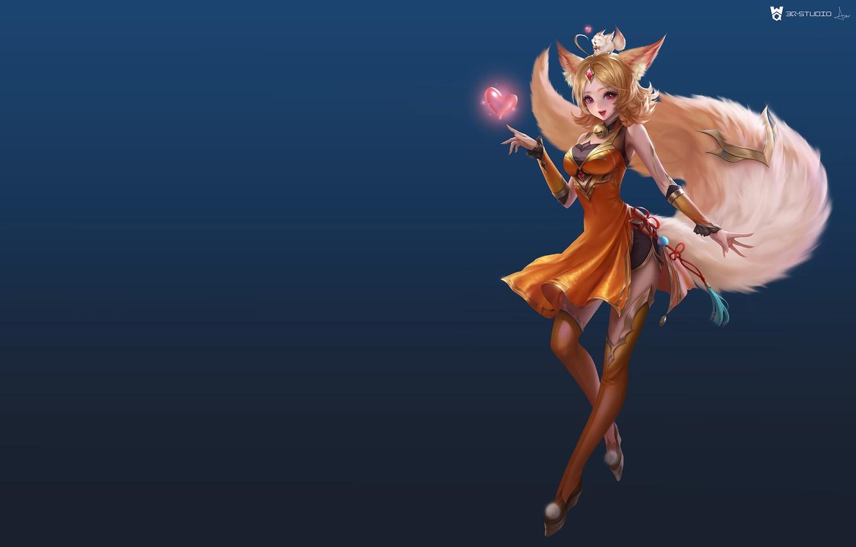 Photo wallpaper anime, fantasy, art, Fox, heart, 叁乔居 3QSTUDIO, King of glory small Daji