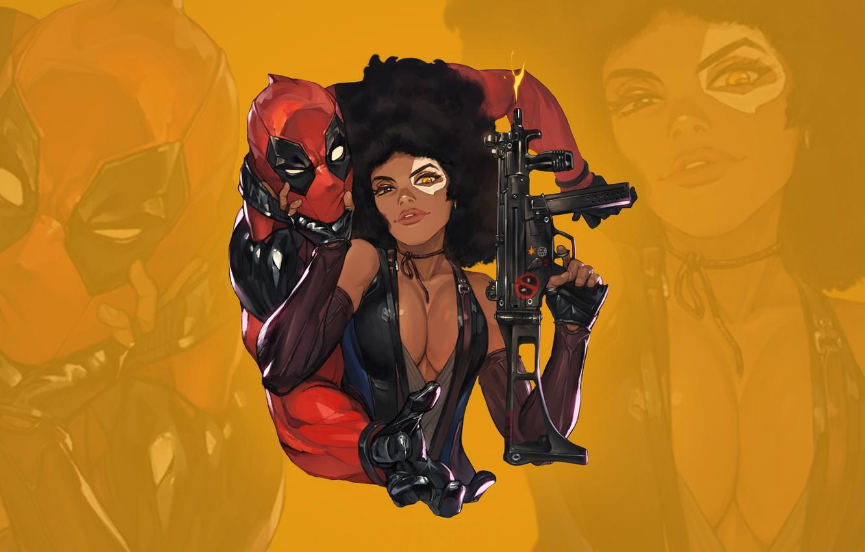 Photo wallpaper chest, eyes, look, gun, gun, beauty, sticker, boobs, eyes, Deadpool, Marvel, Deadpool, costumes, look, babe, …