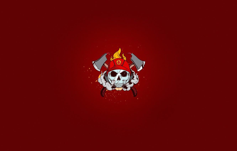 Wallpaper Minimalism Skull Smoke Fire Style Helmet Axe