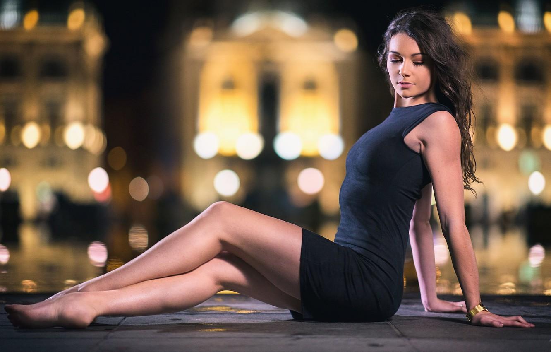 Photo wallpaper girl, lights, the evening, dress, bokeh, barefoot, Laws, beautiful legs