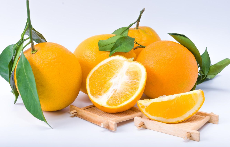 Photo wallpaper white, background, oranges, citrus, Orange, Fruit