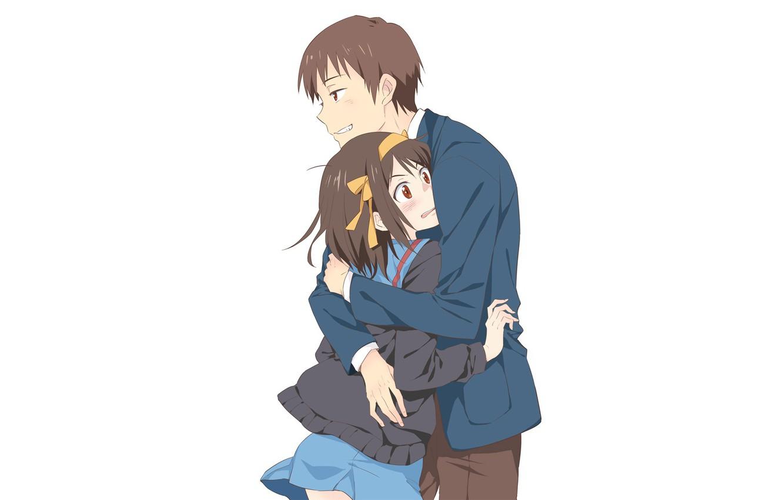 Wallpaper Girl Background Guy Hugs The Melancholy Of Haruhi