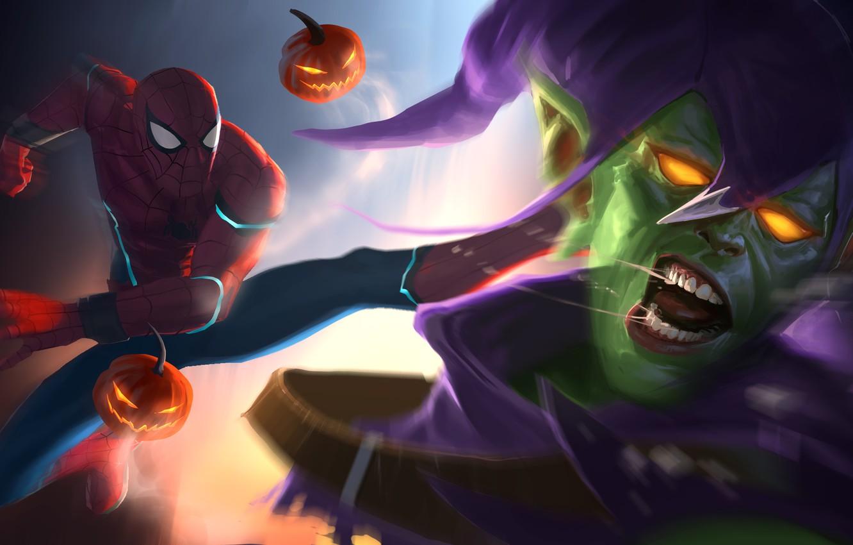 Photo wallpaper Art, Marvel, Comics, Peter Parker, Spider Man, Green Goblin, Fight, Norman Osborn