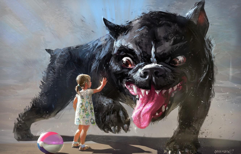 Photo wallpaper summer, fantasy, the game, art, friendship, girl, trust, dog, children's, Vadim Gousmanov, ball game