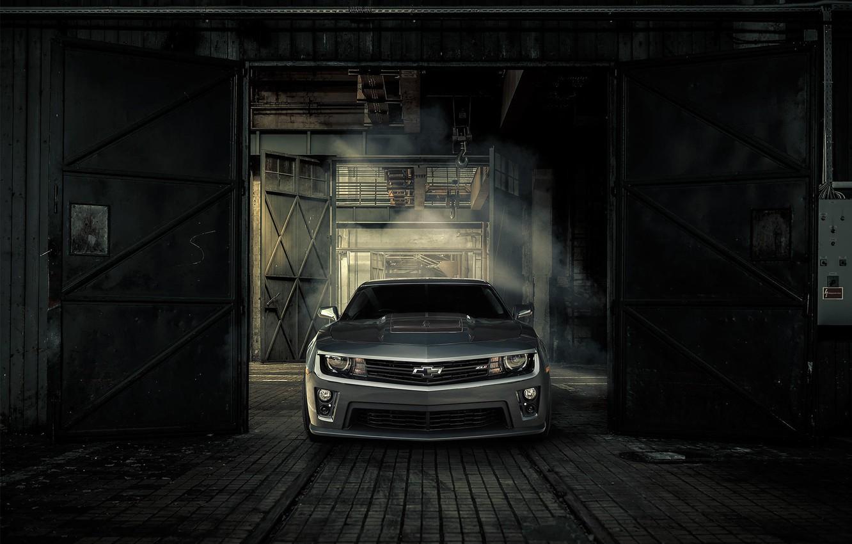 Photo wallpaper Chevrolet, Machine, Gate, Camaro, Lights, ZL1, Icon, Grille