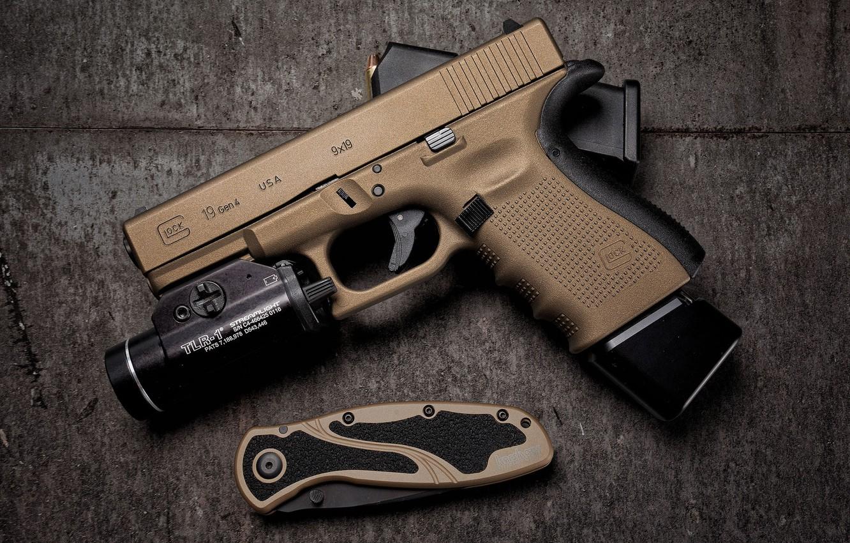 Wallpaper gun, background, knife, Glock