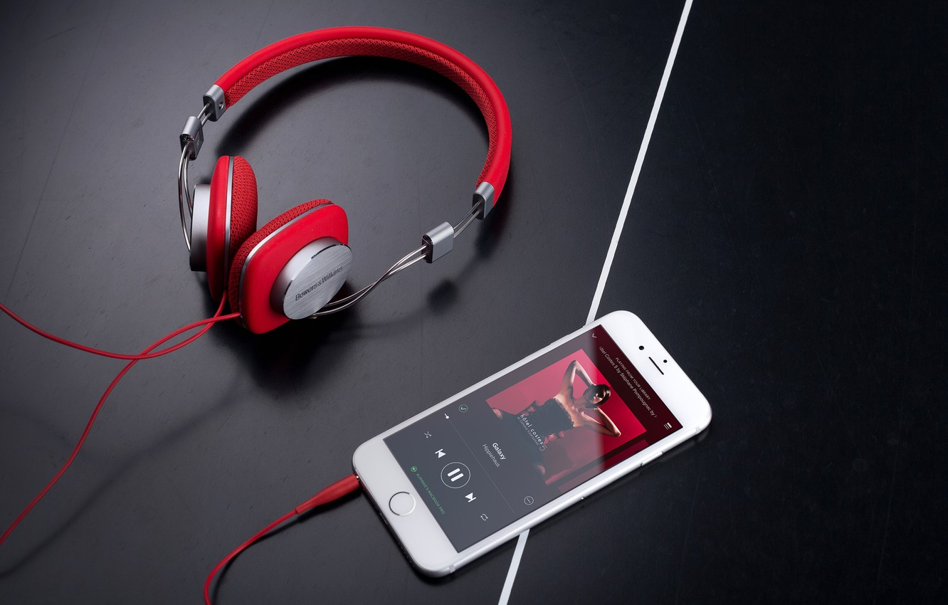 P O Wallpaper White Style Music Headphones Wire Red Smartphone