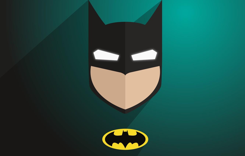 Photo wallpaper logo, Batman, minimalism, comics, digital art, artwork, mask, superhero, DC Comics, simple background, green background